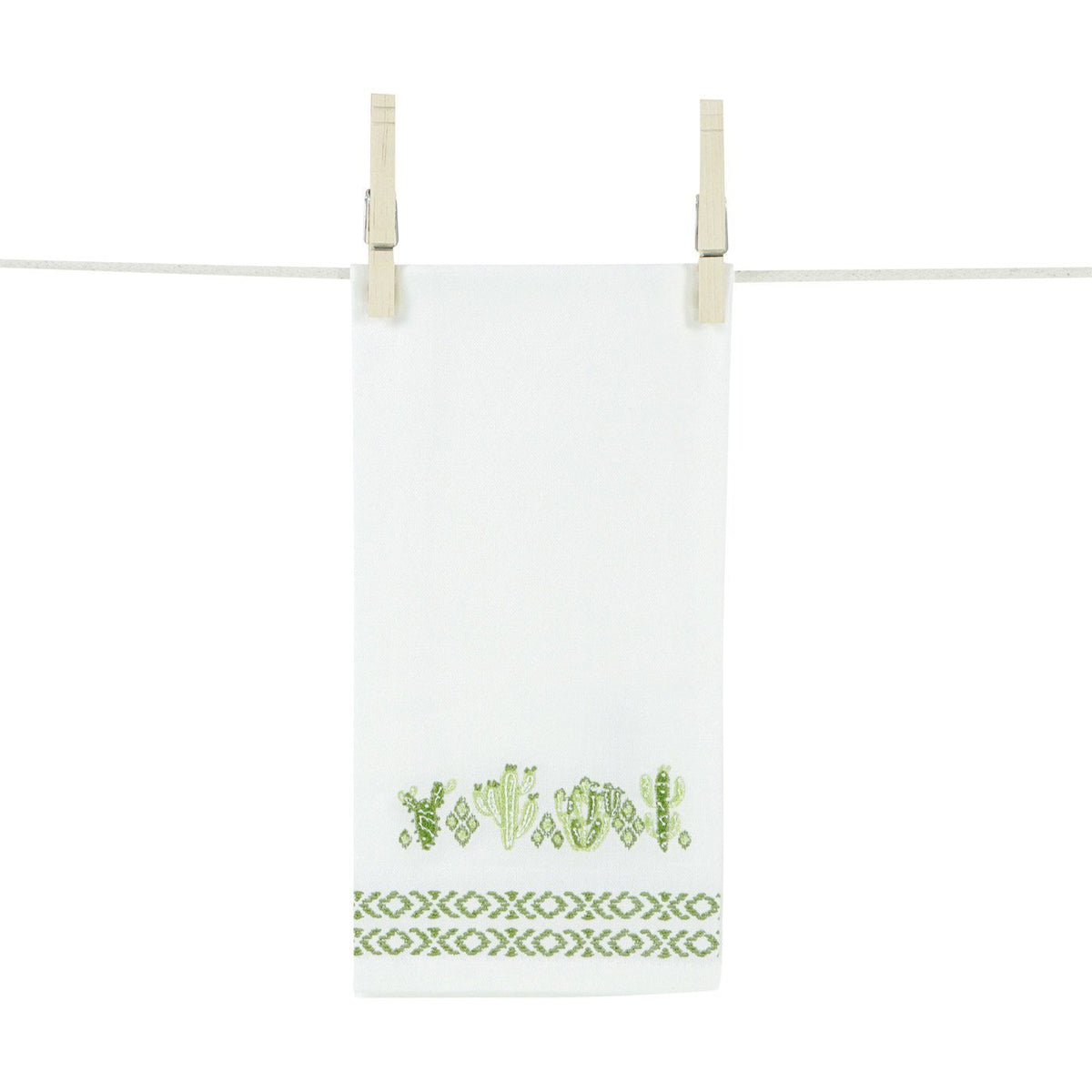Navajo Cactus Embroidered Hand Towels (Set of 2)