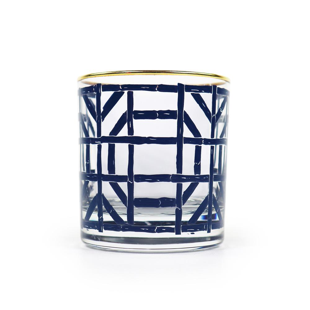 Navy Bamboo Bourbon Glass