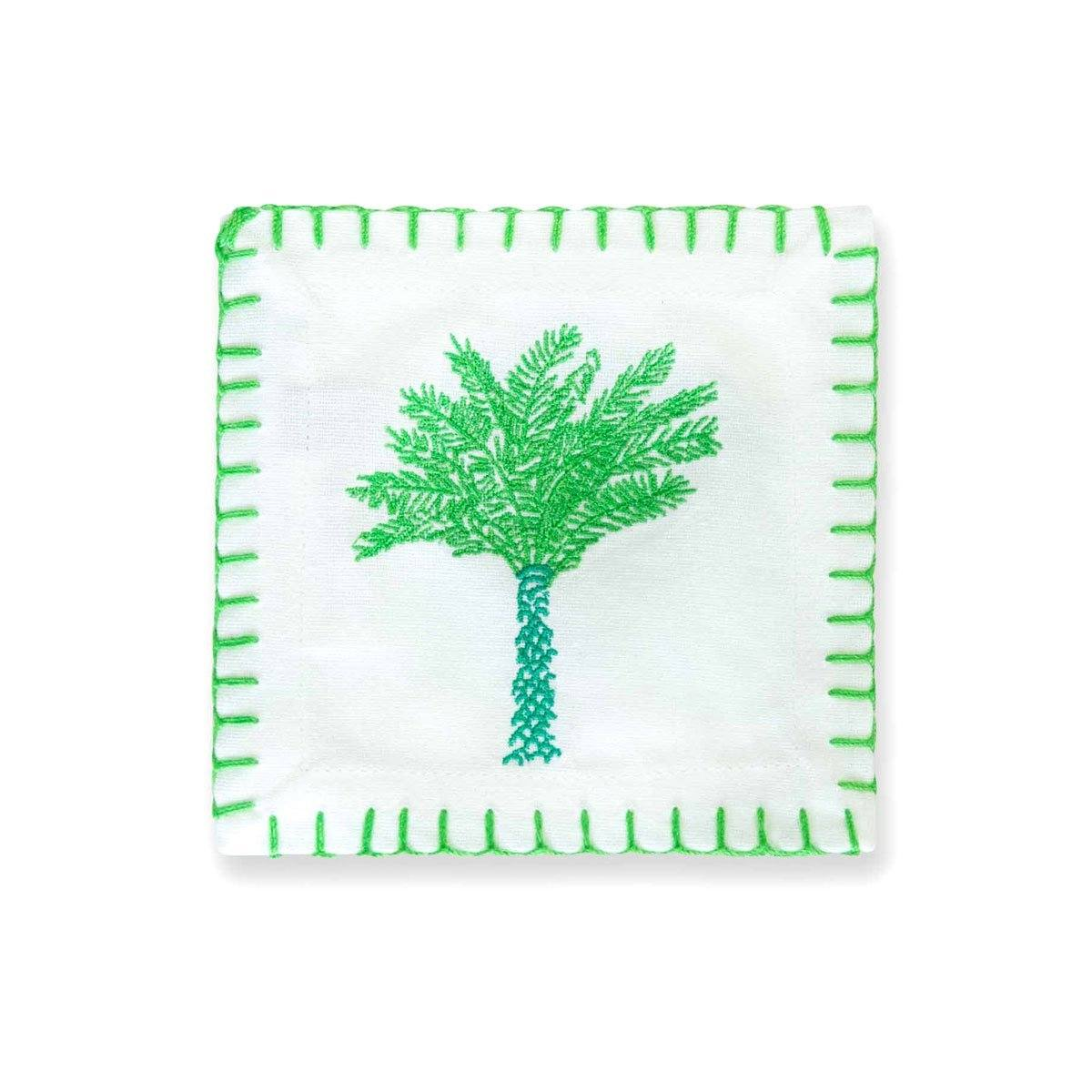 Palm Embroidered Cocktail Napkin | Set of 6