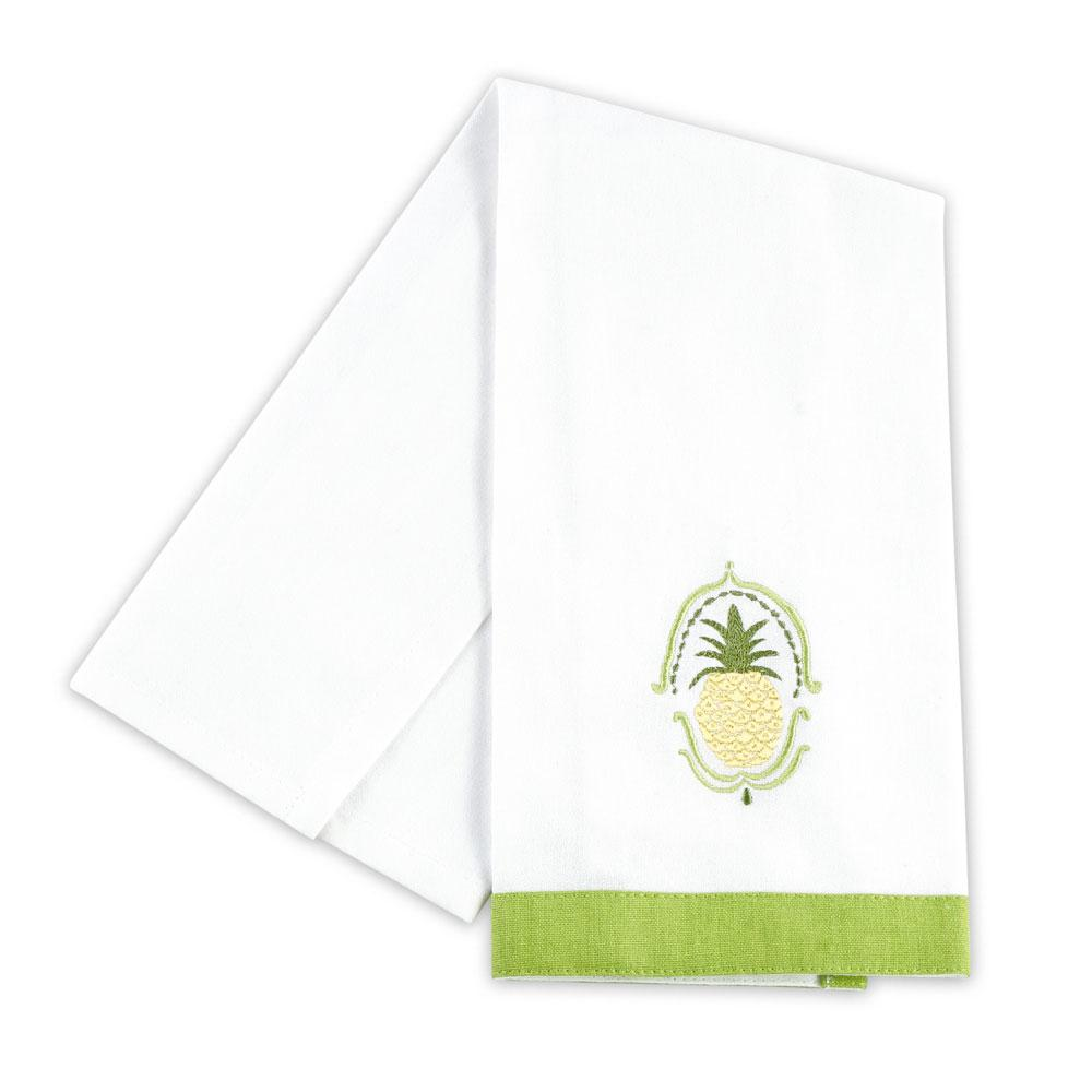 Plantation Pineapple Embroidered Hand Towels (Set of 2)