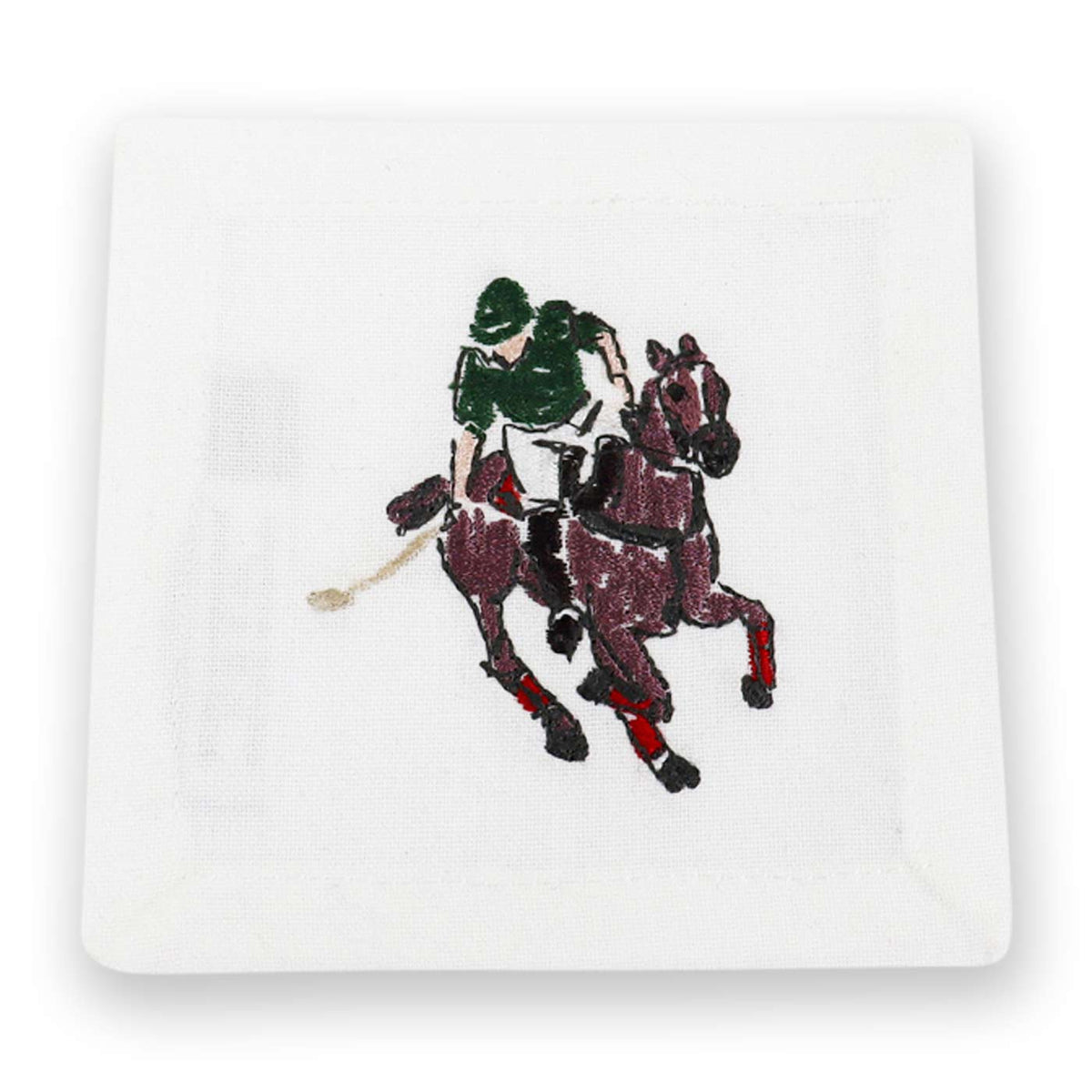 Polo Player Embroidered Cocktail Napkin (Set of 6)