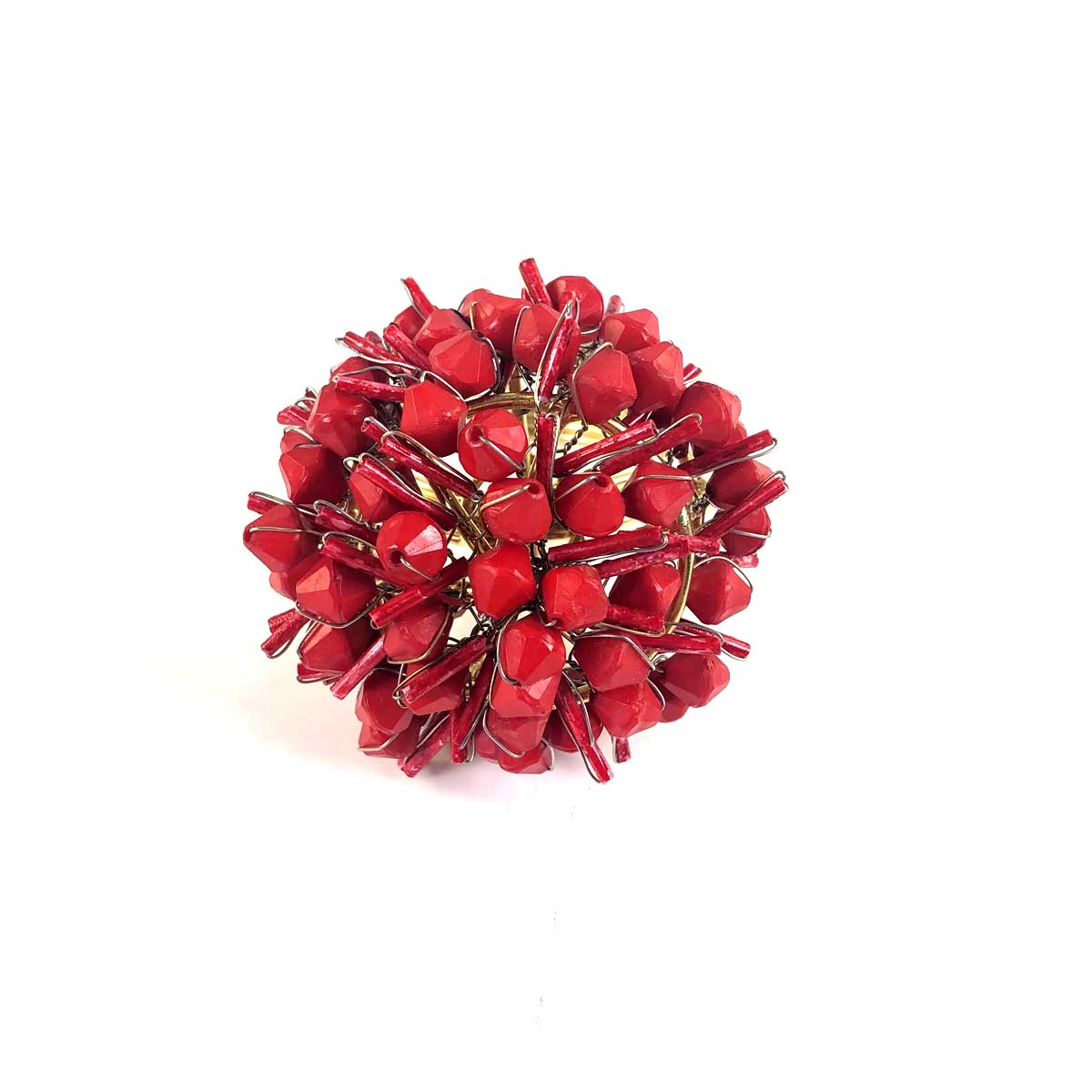 Red Cluster Beaded Napkin Ring | Set of 4