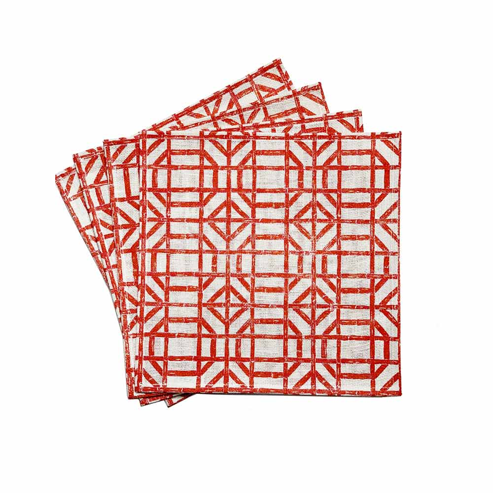 Coral Bamboo Square Jute Placemat | Set of 4