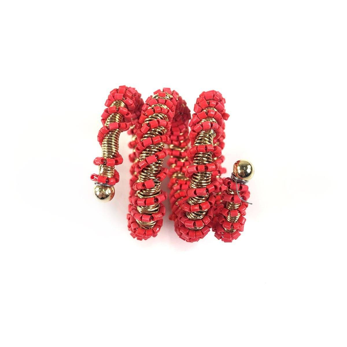 Red Wrapped Beaded Napkin Ring | Set of 4