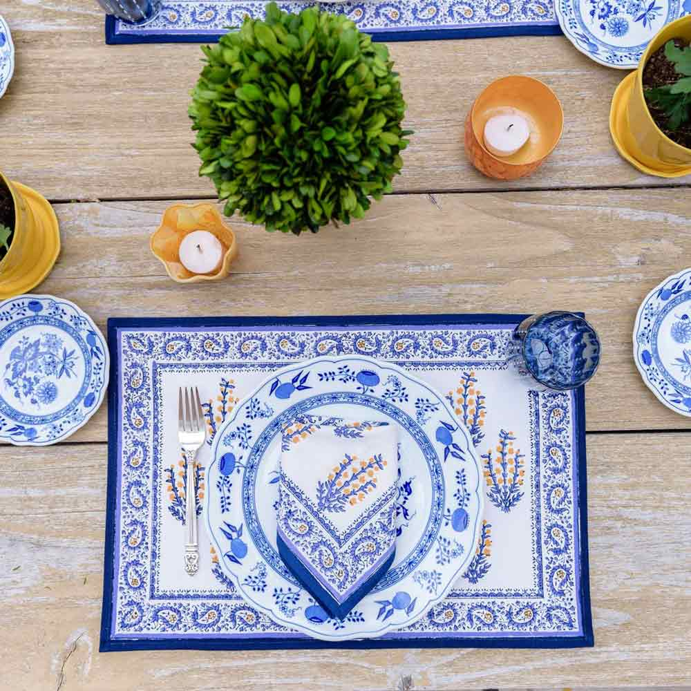 blue and yellow paisley/marigold printed placemat