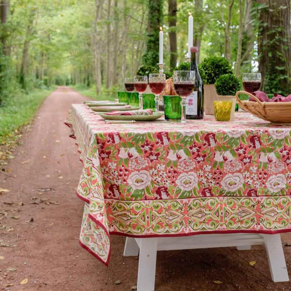 Table with Spice Route Garnet Tablecloth
