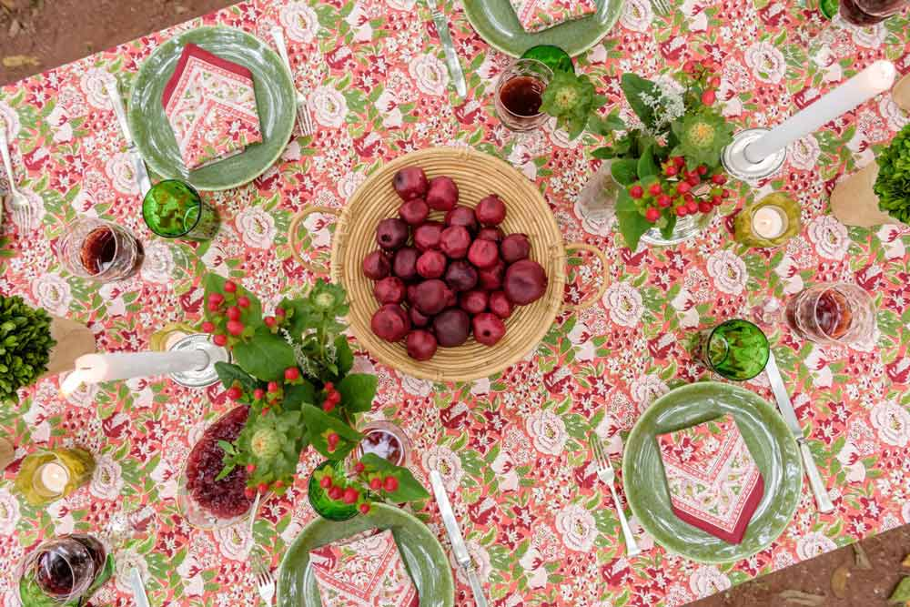 garnet, blush and green floral and fruit printed tablecloth