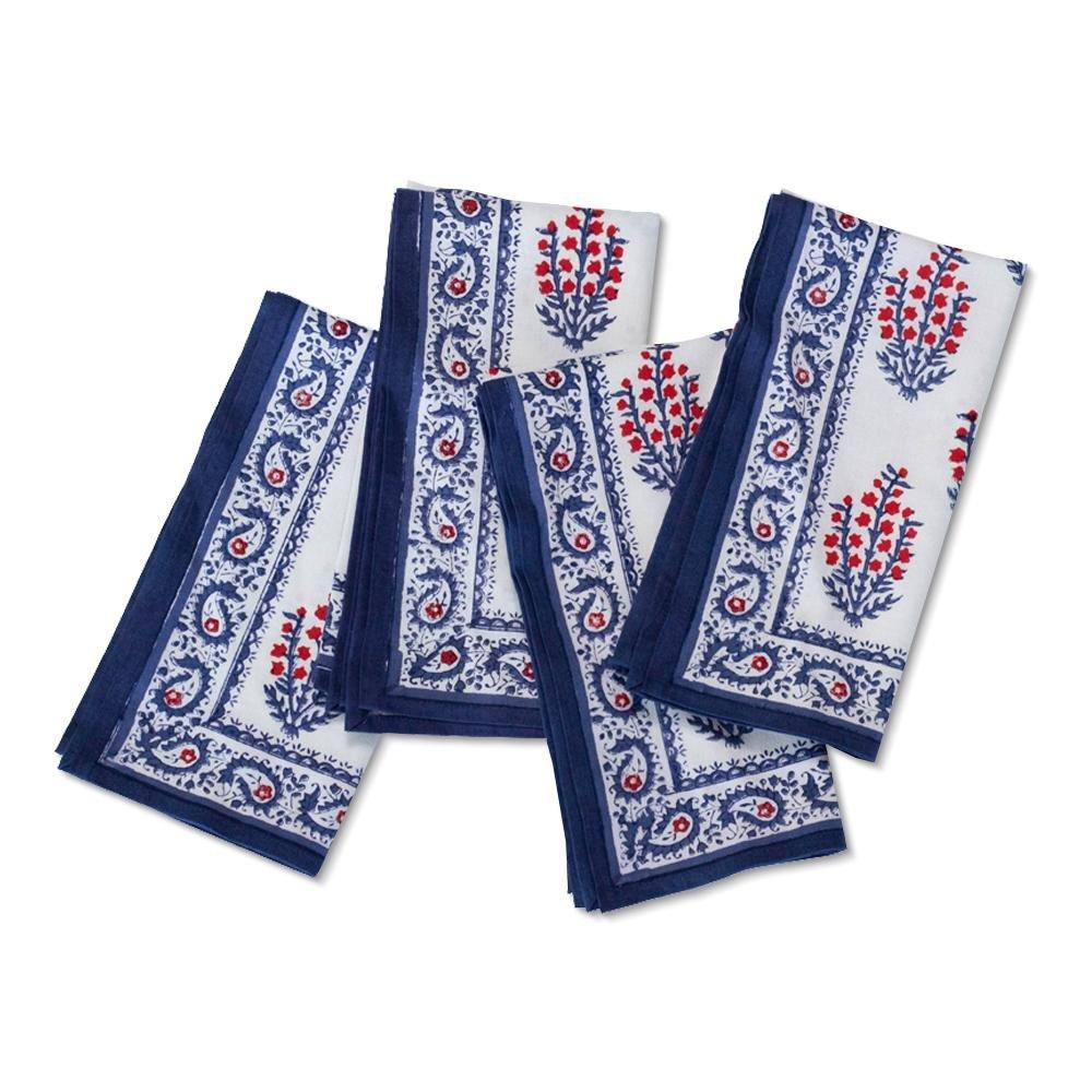 Sagar Red & Blue Napkin | Set of 4