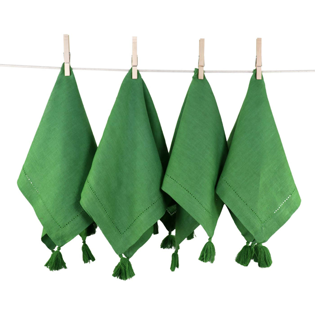 Solid Green Linen Napkin|Set of 4