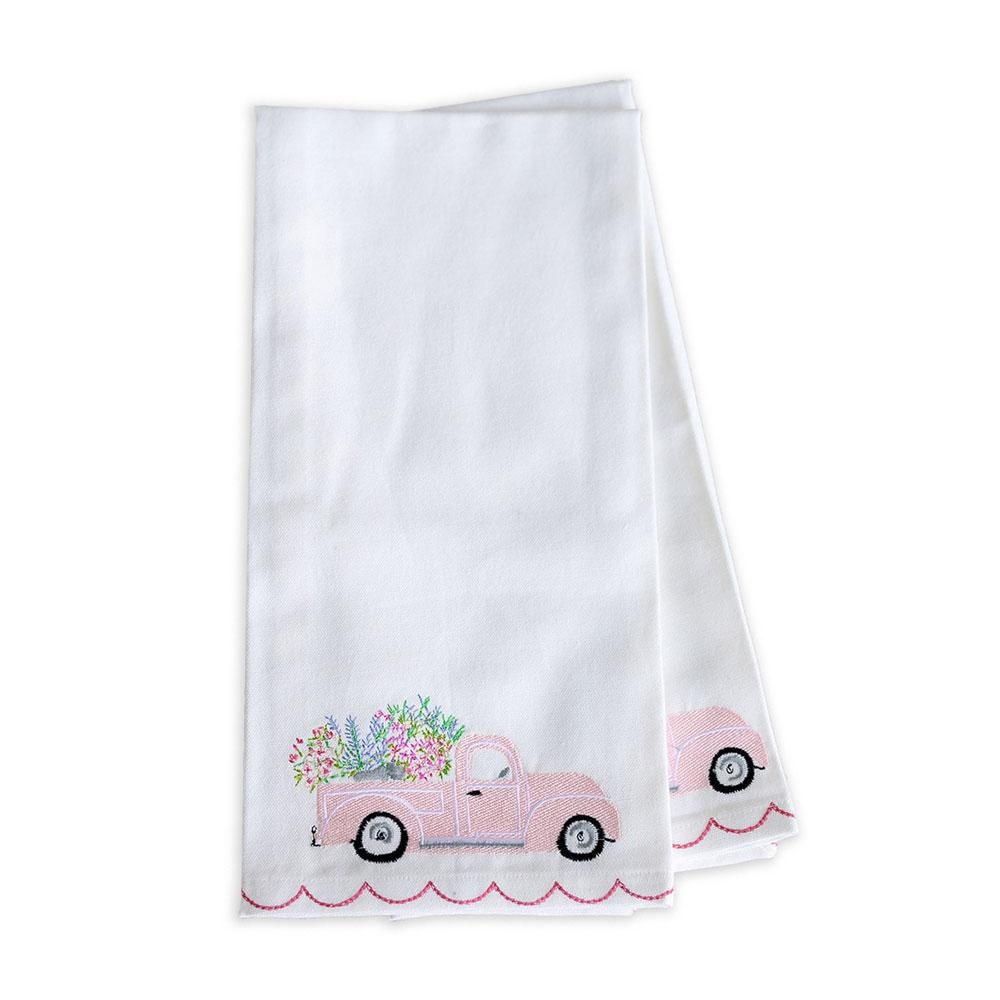 Blossom Truck Tea Towel Set- 2- spring kitchen and table accessories