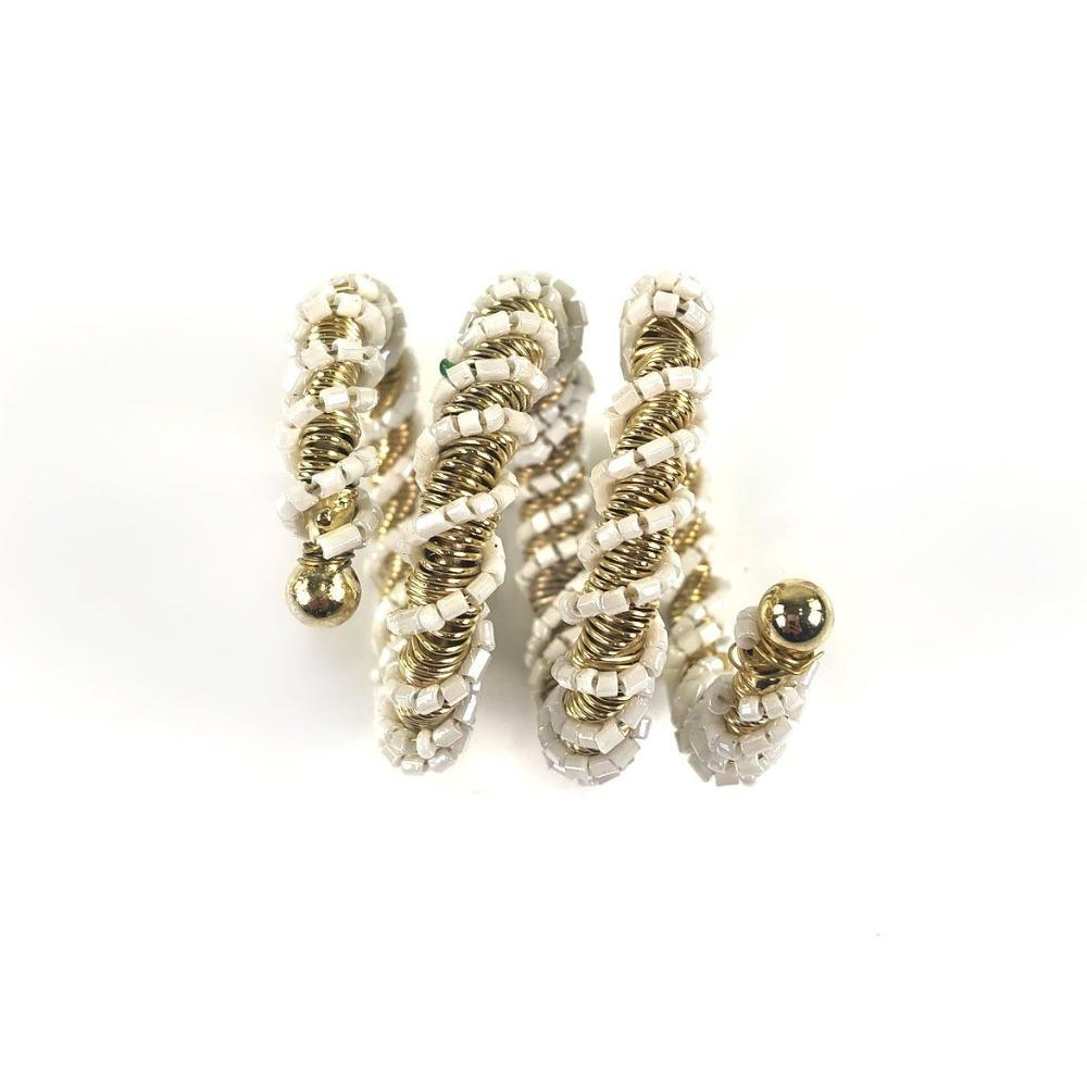 White Wrapped Beaded Napkin Ring | Set of 4
