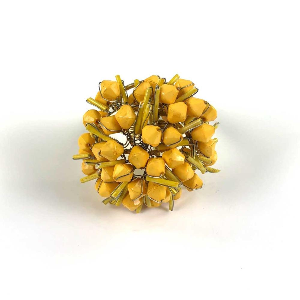 Yellow Cluster Beaded Napkin Ring | Set of 4