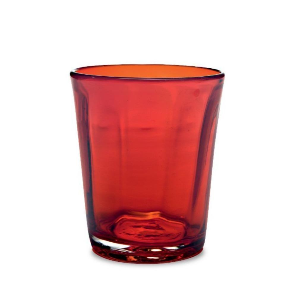 ruby colored drinking glass
