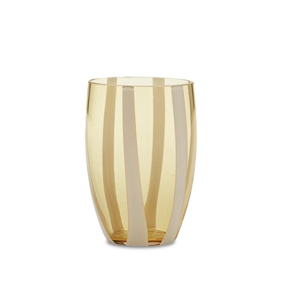 Candy Striped Drinking Glass-Amber/White