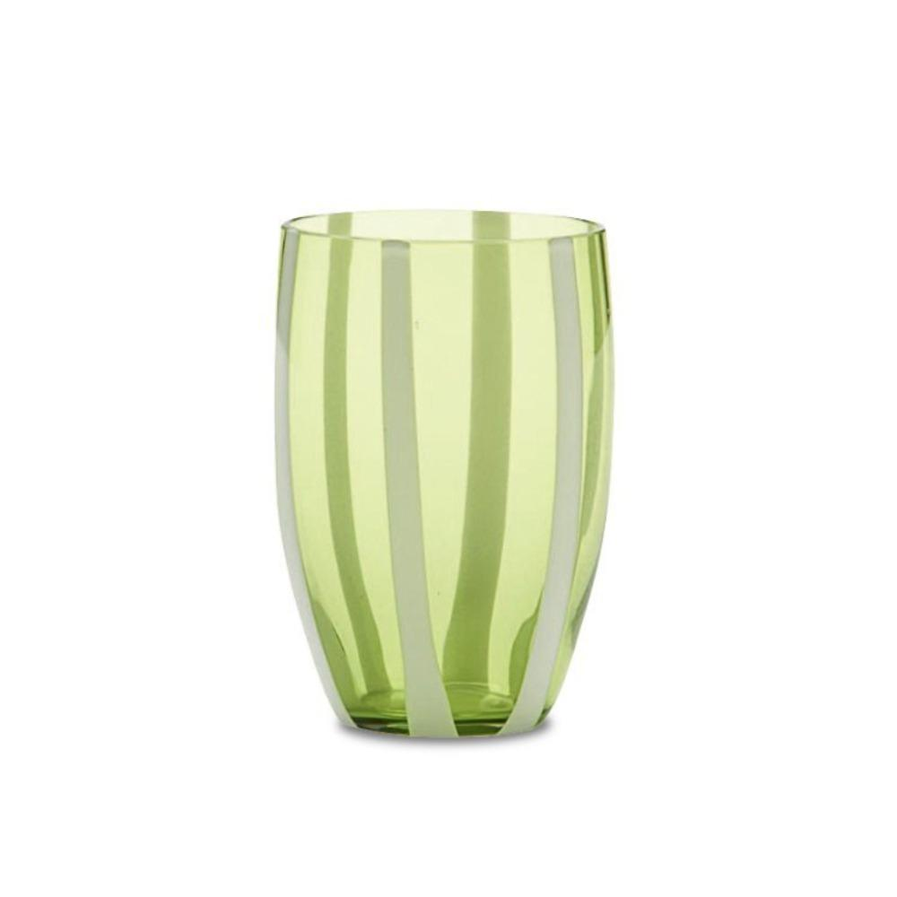 Candy Striped Drinking Glass-Apple Green
