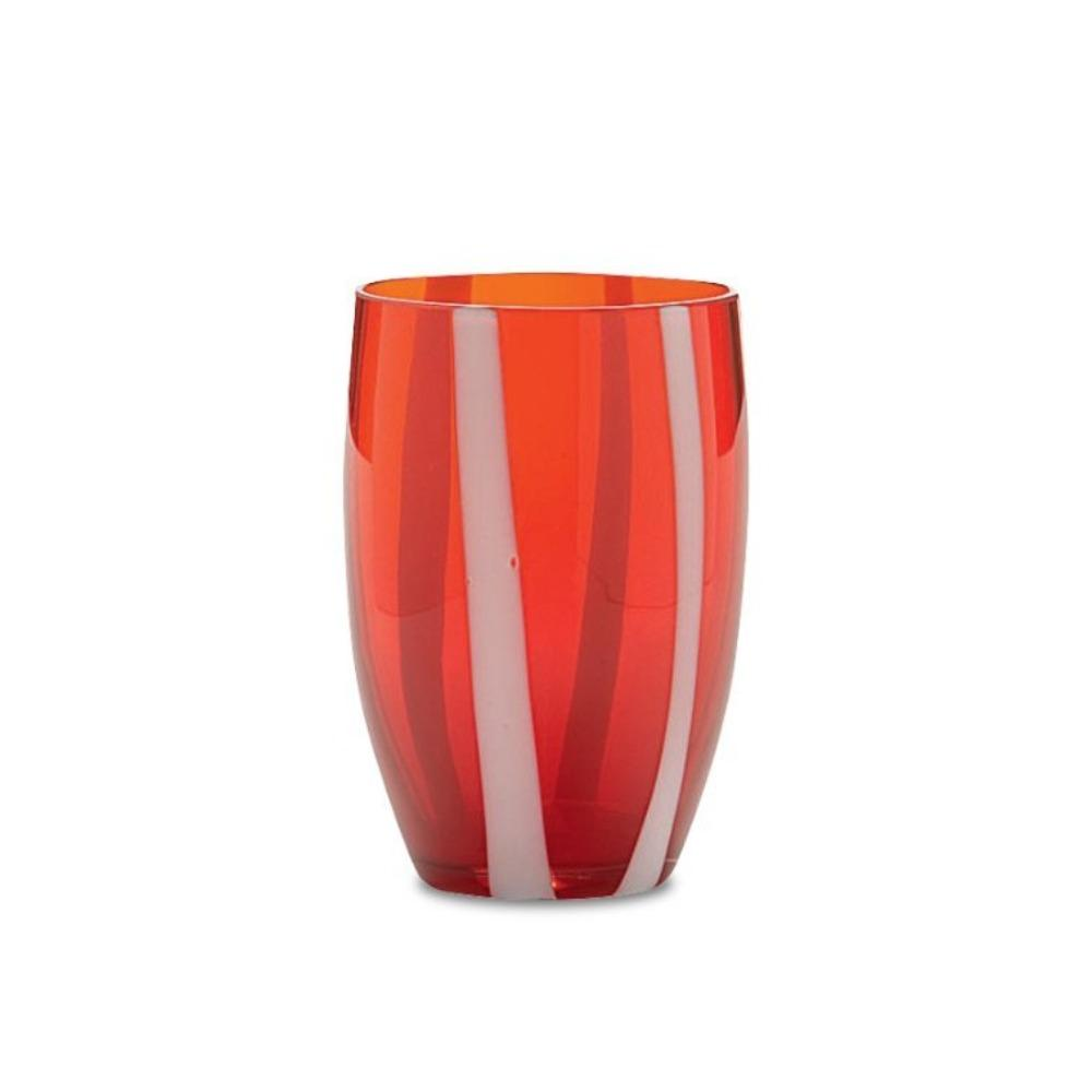 Candy Striped Drinking Glass-Cranberry