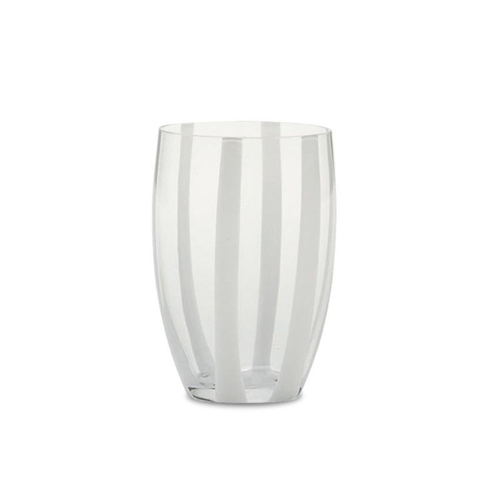 Candy Striped Drinking Glass-Transparent