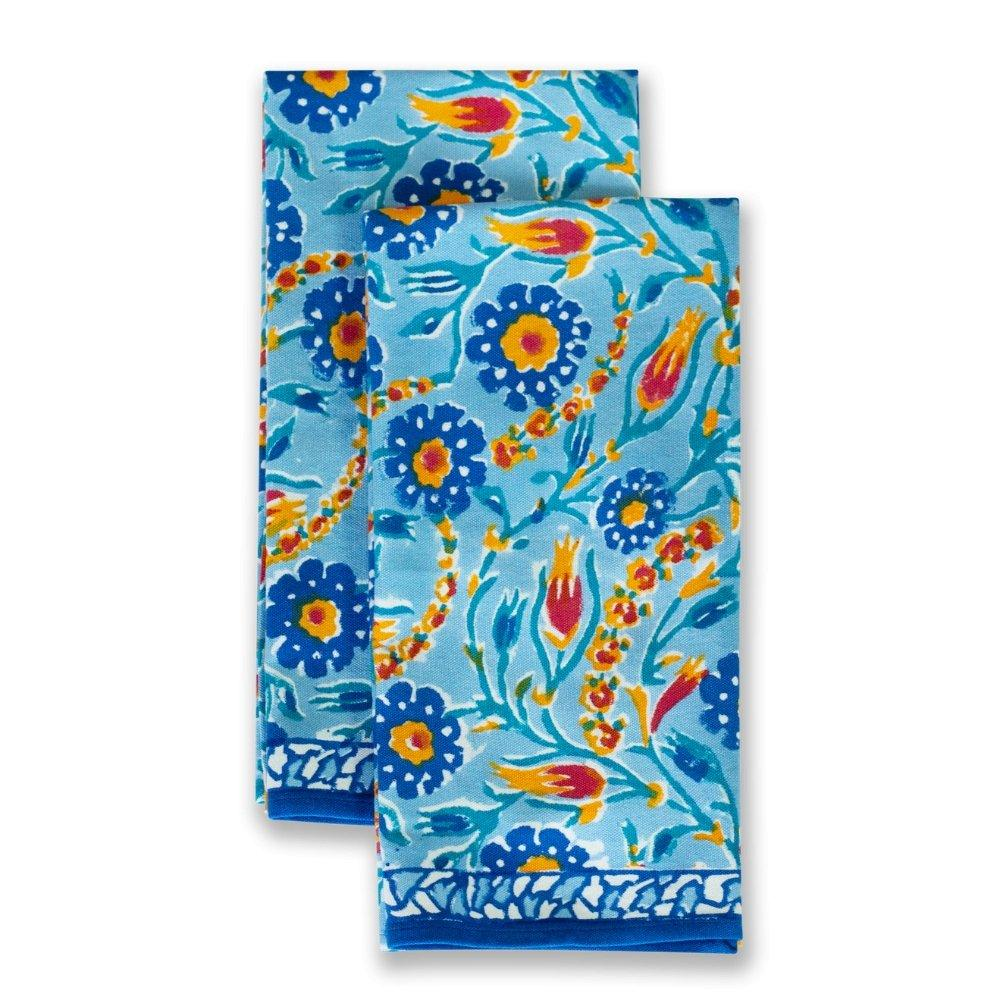 Cloth Tea Towel set with Red and Blue Flowers