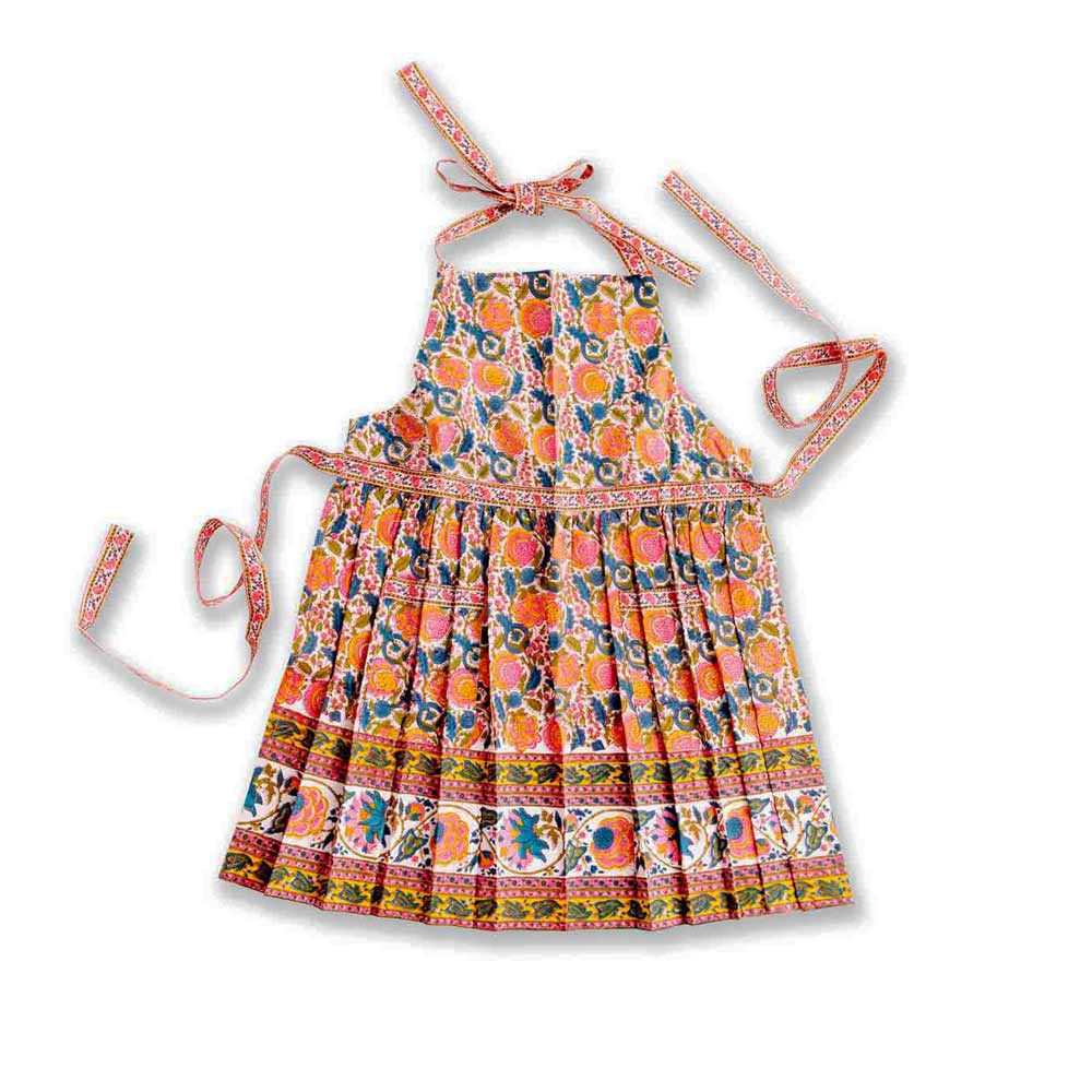 jewel tone colored apron with blossom design