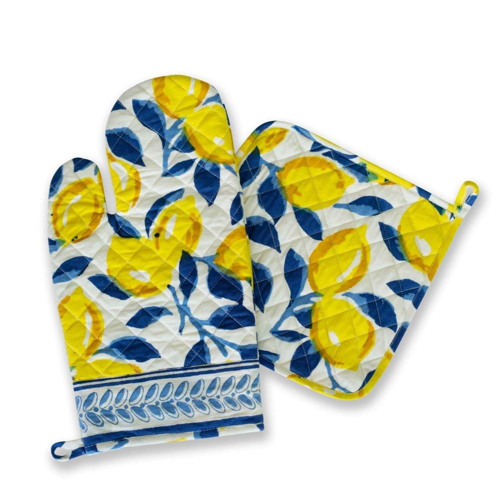 Beautiful navy and lemon printed pot holder and oven mitt set
