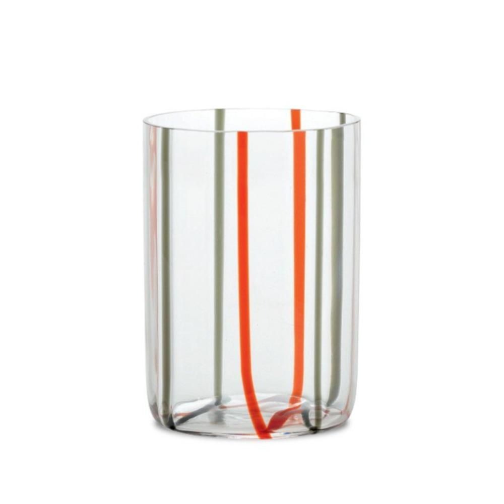 Tunnel Stripe Drinking Glass-Umber