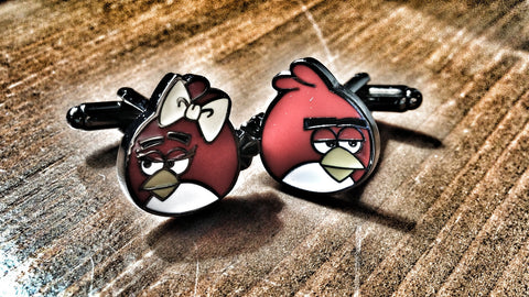 Mr and Mrs Angry Birds Cufflinks