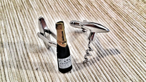 Champagne and Corkscrew Cufflinks