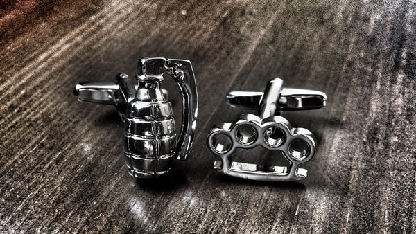 Badass Brass Knuckles and Hand Grenade Cufflinks