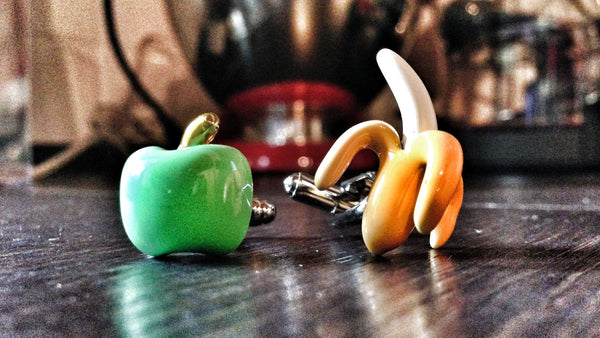 Green Apple and Banana Cufflinks