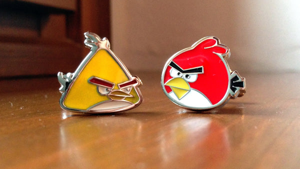 Yellow and Red Angry Birds Cufflinks