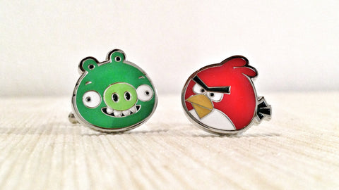 Bad Piggy and Angry Bird Cufflinks
