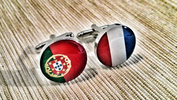Portuguese and French Flags Cufflinks