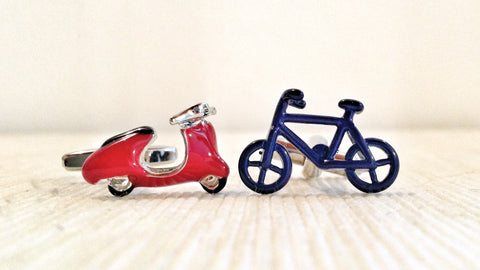 One Bike, Two Bike, Red Scooter, Blue Bicycle Cufflinks
