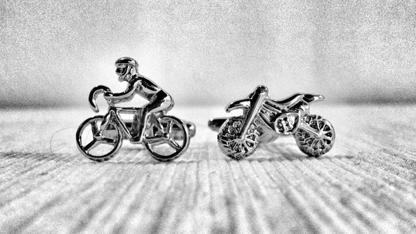 Motorbike and Cyclist Cufflinks