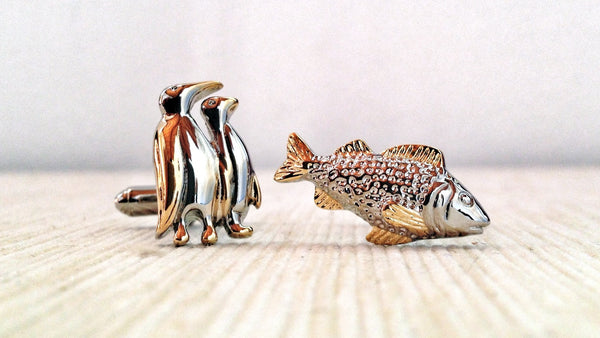 Penguin and Fish Cufflinks