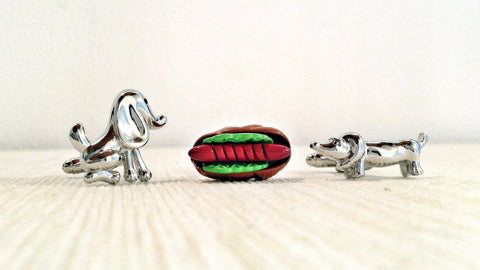 Dogs and Hotdog Cufflink Set