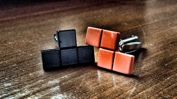 Black and Orange Tetris Cufflinks
