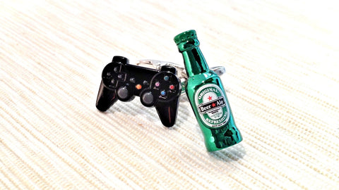 Game Controller and Bottled Beer Cufflinks