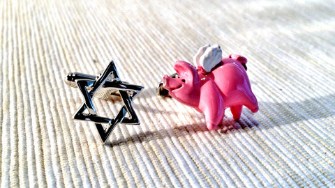 Star of David and Flying Pig Cufflinks