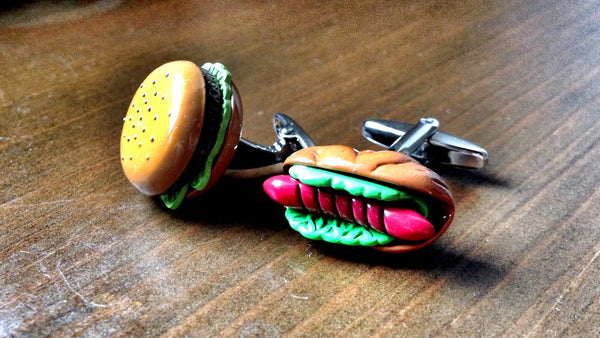 Hotdog vs Burger Cufflinks