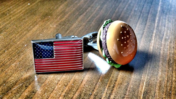 USA Flag and Burger cufflinks