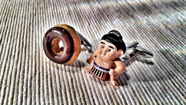 Donut and Sumo Wrestler Cufflinks