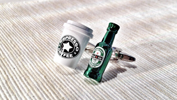 Coffee Cup and Beer Bottle Cufflinks