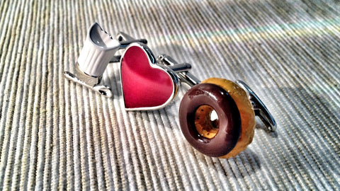 Chef's Hat, Heart and Donut Cufflink Set
