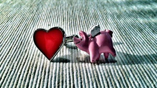 I Heart Pink Flying Pig Cufflinks