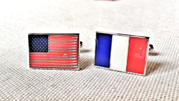 USA and France Flag Cufflinks