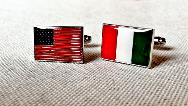 USA and Italy Flag Cufflinks