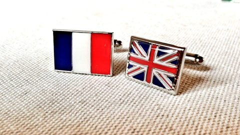 France and UK Flag Cufflinks
