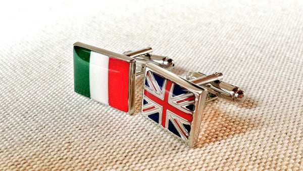 Italian and British Flag Cufflinks