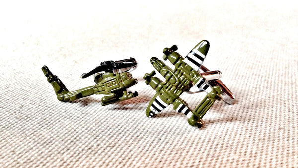 Helicopter and P-38 Lightning Aeroplane cufflink